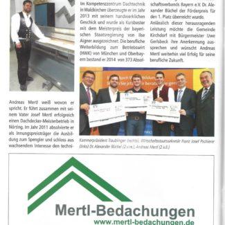 Gemeindezeitung Kirchdorf Dachdeckermeister Betriebswirt Andreas Mertl